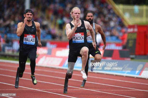 Johnnie Peacock of Great Britain wins the Mens T44 100m during the Muller Grand Prix and IAAF Diamond League event at Alexander Stadium on August 20...
