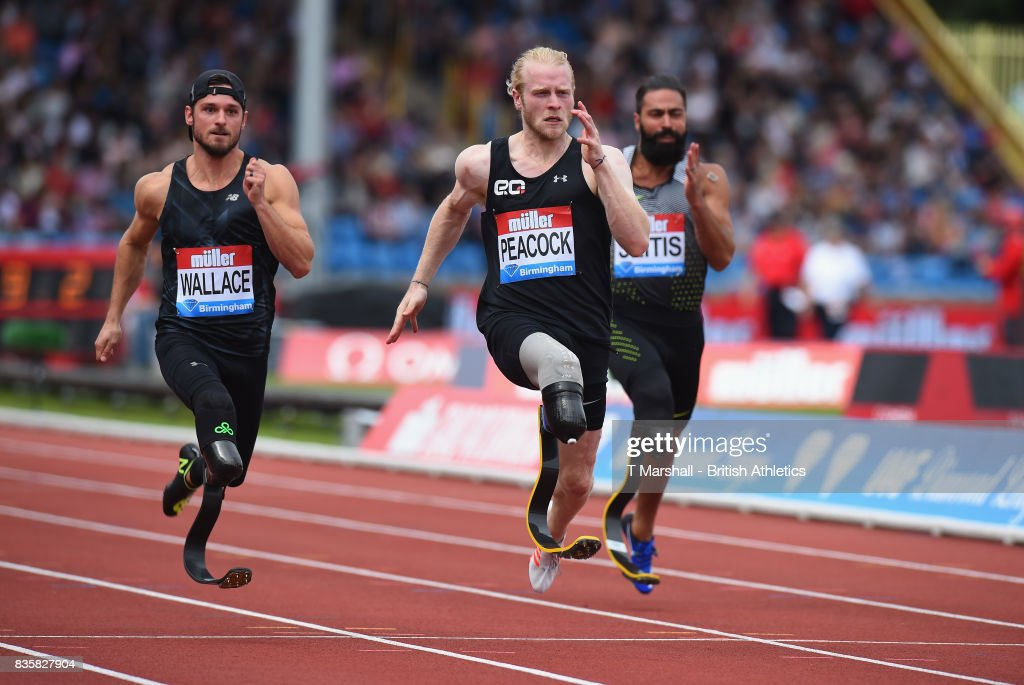 Johnnie Peacock of Great Britain wins the Mens T44 100m during the Muller Grand Prix and IAAF Diamond League event at Alexander Stadium on August 20, 2017 in Birmingham, England.