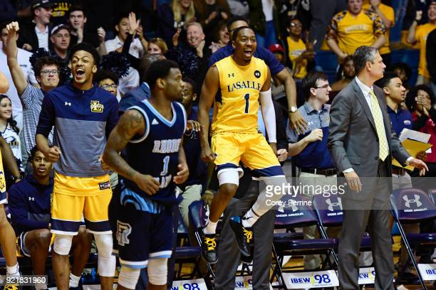 Johnnie Shuler of the La Salle Explorers reacts as the game is tied in the final seconds of regulation against the Rhode Island Rams during the...