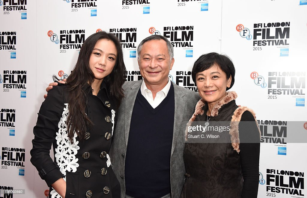 Johnnie To, Tang Wei and Sylvia Chang attend the 'Office' Red Carpet arrivals during the BFI London Film Festival at Vue Leicester Square on October 16, 2015 in London, England.