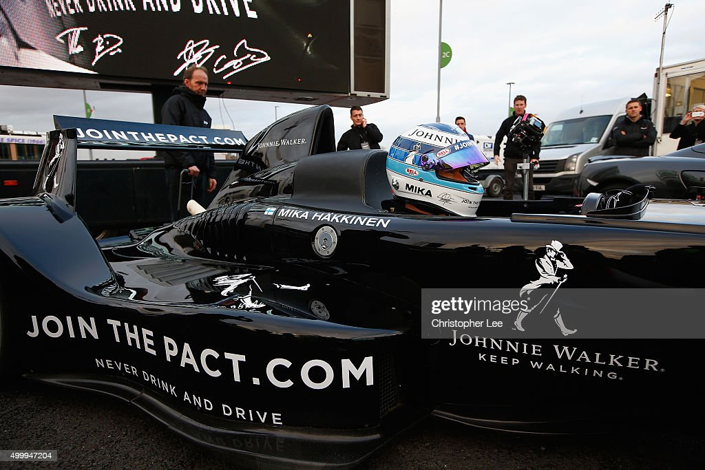 Johnnie Walker® Global Responsible Drinking Ambassador Mika Häkkinen pictured behind the wheel of his Caparo T1 supercar at the launch of the Johnnie Walker® festive responsible drinking initiative Join The Pact at Wembley Stadium on December 4, 2015 in London, England. Häkkinen was joined by fellow F1 World Champions and McLaren Honda drivers Jenson Button and Fernando Alonso at the event to encourage people to Join The Pact by pledging to never drink and drive. Those who sign-up will also have the opportunity to gift a friend a safe ride home this festive season. Join The Pact by visiting jointhepact.com or by tweeting #JoinThePact to @JohnnieWalker_.