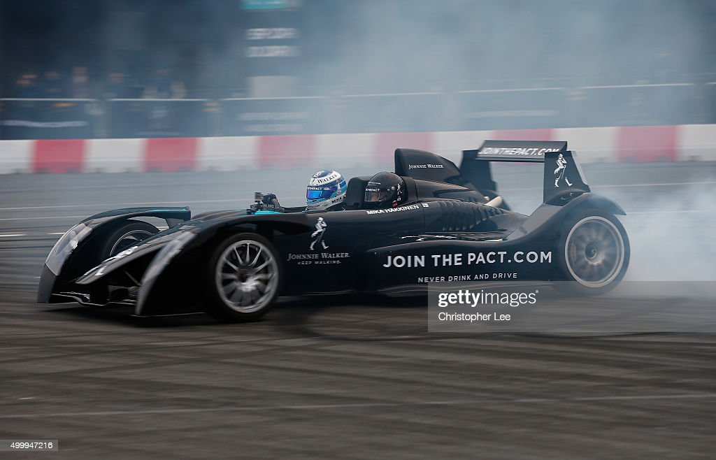 Johnnie Walker® Global Responsible Drinking Ambassador Mika Häkkinen pictured behind the wheel of his Caparo T1 supercar at the launch of the Johnnie Walker® festive responsible drinking initiative Join The Pact outside Wembley Stadium on December 4, 2015 in London, England. Häkkinen was joined by fellow F1 World Champions and McLaren Honda drivers Jenson Button and Fernando Alonso at the event to encourage people to Join The Pact by pledging to never drink and drive. Those who sign-up will also have the opportunity to gift a friend a safe ride home this festive season. Join The Pact by visiting jointhepact.com or by tweeting #JoinThePact to @JohnnieWalker_.