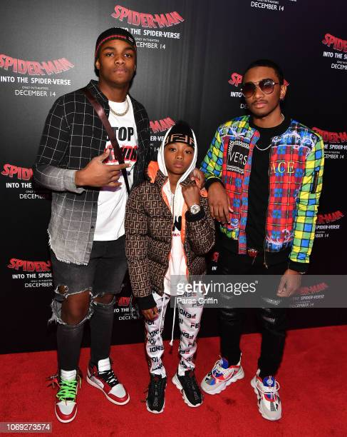 Johnnie Whitt Ace Coleman and Amir Coleman attend 'Spiderman Into The SpiderVerse' Atlanta screening at Regal Atlantic Station on December 6 2018 in...