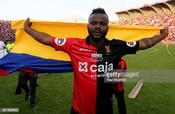 Johnnier Montano of FBC Melgar celebrates the championship after winning a second leg final match between FBC Melgar and Sporting Cristal as part of...