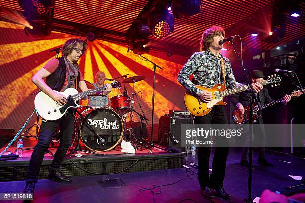 Johnny A Jim McCarty John Idan and Kenny Aaronson of The Yardbirds performing at Under The Bridge on April 15 2016 in London England