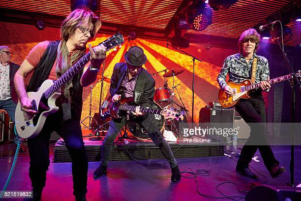 Johnny A Kenny Aaronson and John Idan of The Yardbirds performing at Under The Bridge on April 15 2016 in London England