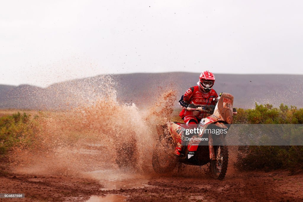 Johnny Aubert of France and Gas Gas Motorsport rides a GasGas bike in the Classe 2.1 : Super Production during stage seven of the 2018 Dakar Rally between La Paz and Uyuni on January 13, 2018 in UNSPECIFIED, Bolivia.