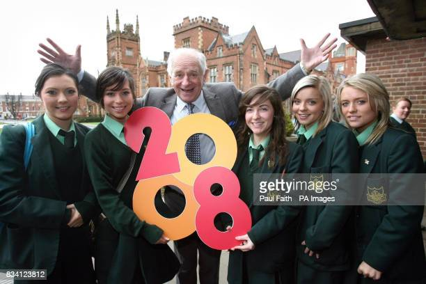 Johnny Ball with pupils of the Sacred Heart Grammar school in Newry Sarah Casey Ellen Scales Catriona Gormley Caoimhe Hughes and Dervla Teelan at...