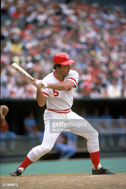 Johnny Bench of Cincinnati Red prepares to swing at a pitch during a game circa 19671983