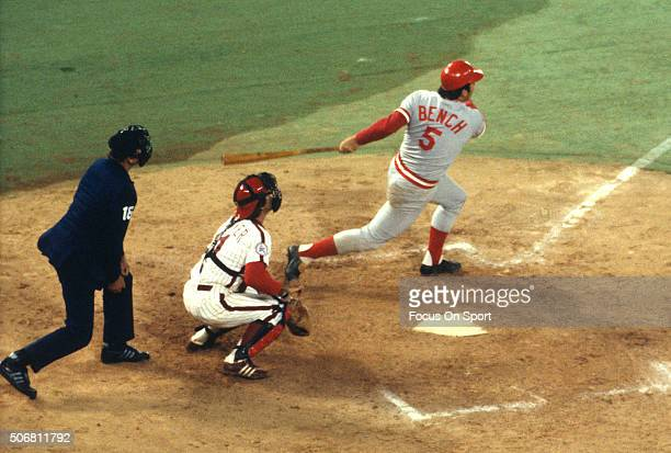 Johnny Bench of the Cincinnati Reds bats against the Philadelphia Phillies during an Major League Baseball game circa 1975 at Veterans Stadium in...