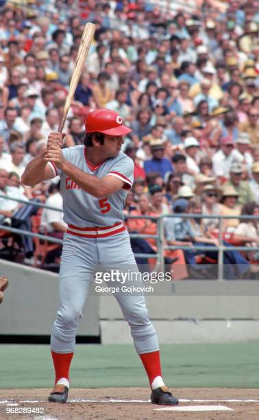 Johnny Bench of the Cincinnati Reds bats against the Pittsburgh Pirates during a Major League Baseball game at Three Rivers Stadium in 1976 in...