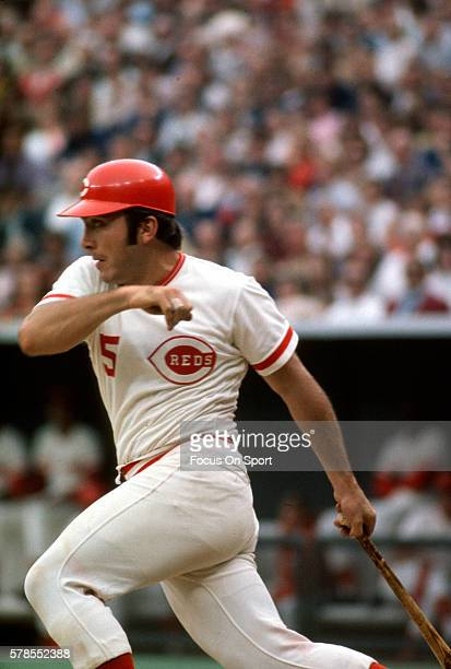 Johnny Bench of the Cincinnati Reds bats during an Major League Baseball game circa 1975 at Riverfront Stadium in Cincinnati Ohio Bench played for...
