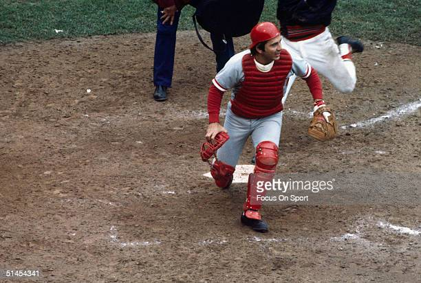 Johnny Bench of the Cincinnati Reds looks infield during the World Series against the Boston Red Sox at Riverfront Stadium in Cincinnati Ohio in...