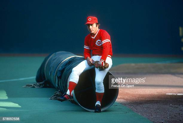 Johnny Bench of the Cincinnati Reds looks on prior to the start of a Major League Baseball game circa 1980 at Riverfront Stadium in Cincinnati Ohio...