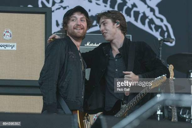 Johnny Bond and Van McCan from Catfish And The Bottlemen performs on day 3 of The Isle of Wight festival at Seaclose Park on June 10 2017 in Newport...
