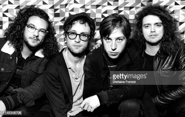 Johnny Bond, Bob Hall, Van McCann and Benji Blakeway of Catfish And The Bottlemen pose backstage after an instore event to celebrate the release of...