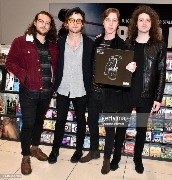 Johnny Bond, Bob Hall, Van McCann and Benji Blakeway of Catfish And The Bottlemen during an instore event to celebrate the release of their new album...