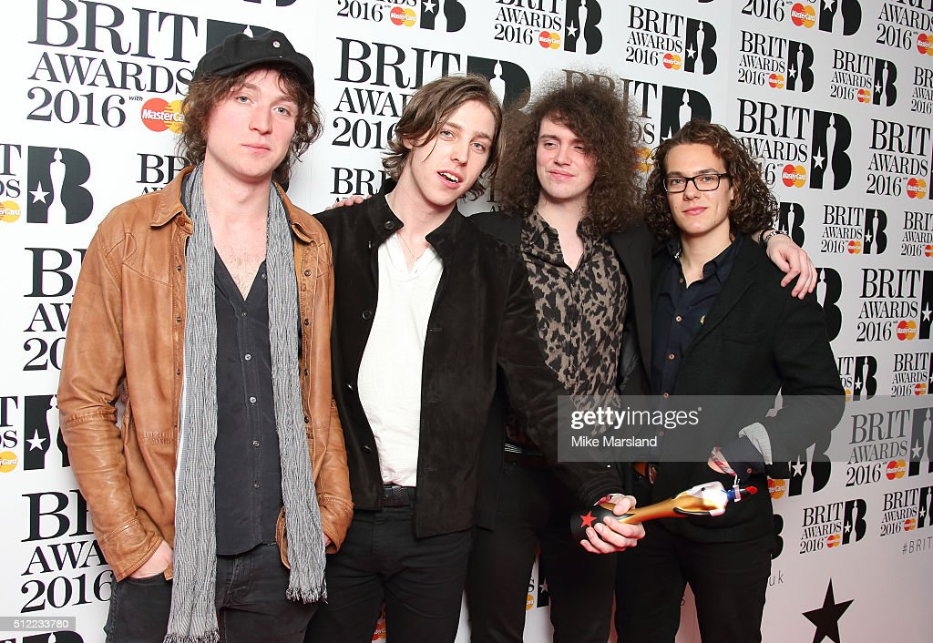 Johnny Bond, Ryan Van McCann, Bob Hall and Benji Blakeway from Catfish and the Bottlemen poses in the winners room at the BRIT Awards 2016 at The O2 Arena on February 24, 2016 in London, England.