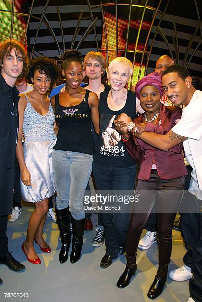 Johnny Borrell Corinne Bailey Rae Jamelia Angelique Kidjo Annie Lennox and Ludacris pose during the 46664 World Aids Day Concert on December 01 2007...