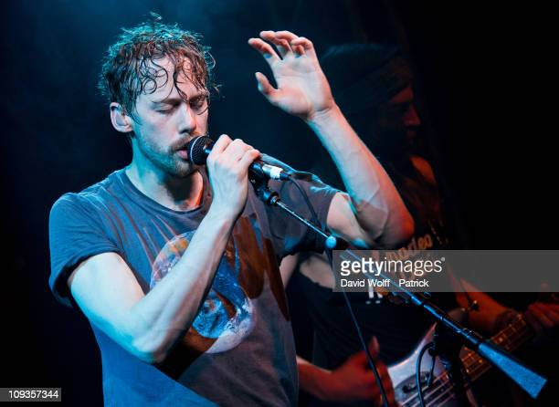 Johnny Borrell of Razorlight performs at La Fleche d'Or on February 22 2011 in Paris France