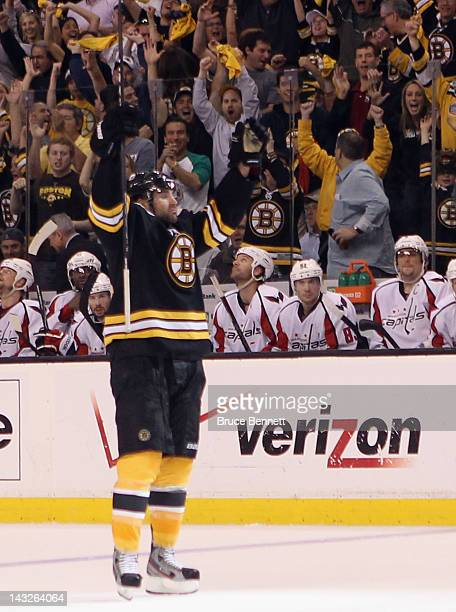 Johnny Boychuk of the Boston Bruins celebrates his goal against the Washington Capitals in Game Five of the Eastern Conference Quarterfinals during...