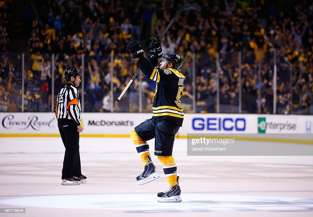 Johnny Boychuk #55 of the Boston Bruins celebrates his goal in the third period against the Montreal Canadiens to force overtime in Game One of the Second Round of the 2014 NHL Stanley Cup Playoffs on May 1, 2014 in Boston, Massachusetts.