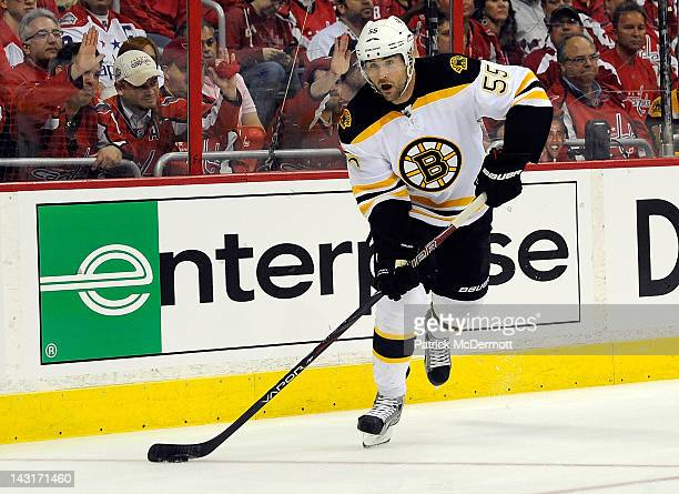 Johnny Boychuk of the Boston Bruins skates against the Washington Capitals in Game Three of the Eastern Conference Quarterfinals during the 2012 NHL...
