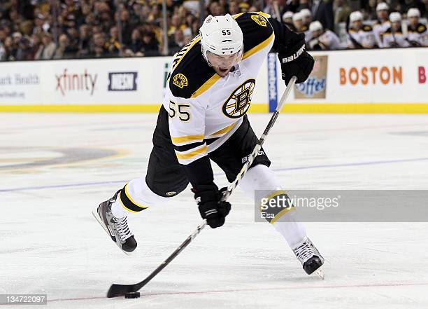 Johnny Boychuk of the Boston Bruins takes a shot to score a goal in the third period against the Toronto Maple Leafs on December 3 2011 at TD Garden...