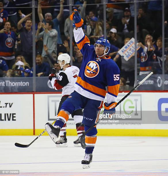 Johnny Boychuk of the New York Islanders celebrates his shorthanded goal at 424 of the third period against the Arizona Coyotes at the Barclays...