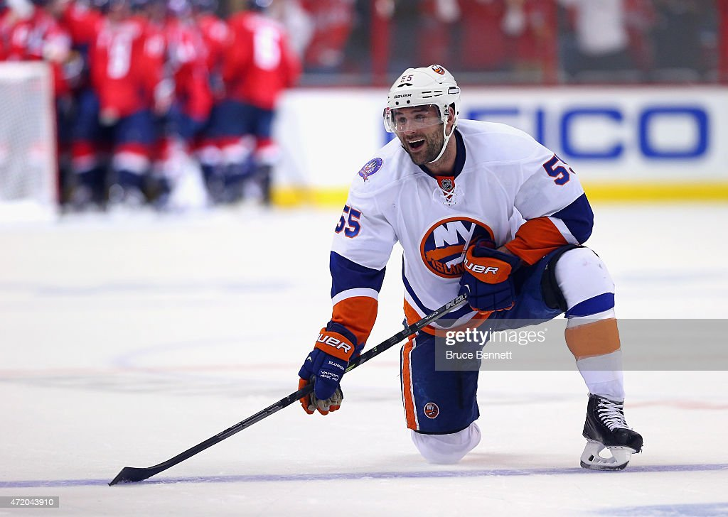 Johnny Boychuk #55 of the New York Islanders reacts at the end of a 2-1 loss to the Washington Capitals in Game Seven of the Eastern Conference Quarterfinals during the 2015 NHL Stanley Cup Playoffs at Verizon Center on April 27, 2015 in Washington, DC.