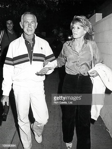 Johnny Carson and Angie Dickinson during Angie Dickinson and Johnny Carson Sighting at Spago's Restaurant August 2 1983 at Spago's Restaurant in...