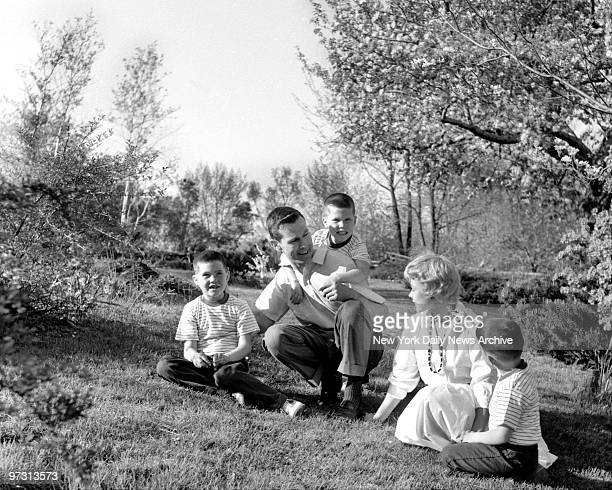 Johnny Carson and his family at his home Birch Hill Estate Winfield Ave Harrison NY Johnny and his wife Jody with their sons Kit Ricky and Cory 4