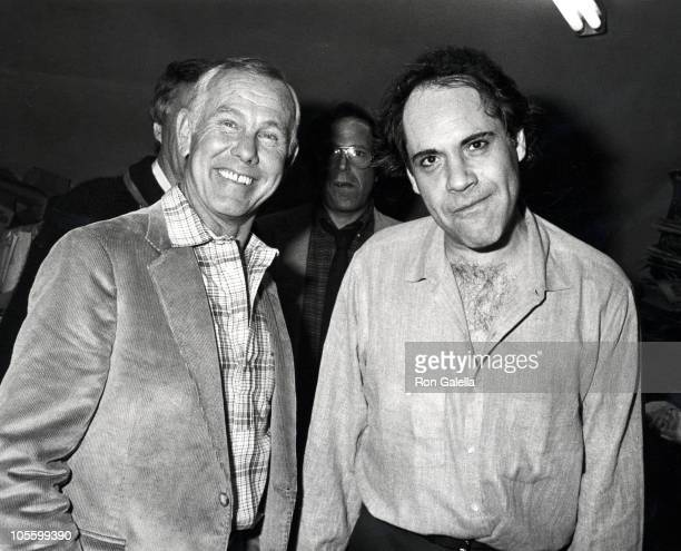 Johnny Carson And Robert Klein during Robert Klein's Opening Night Performance - Febuary 25, 1983 at The Improv in Hollywood, California, United...