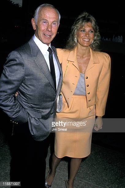 Johnny Carson and Wife during Performance of Les Miserables May 31 1988 in Los Angeles California United States