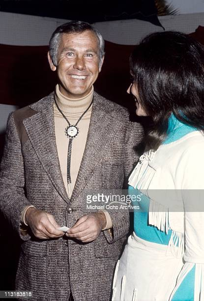 Johnny Carson host of the Tonight Show and fiancee Joanna Copeland attend an event in May 1972 in Los Angeles California