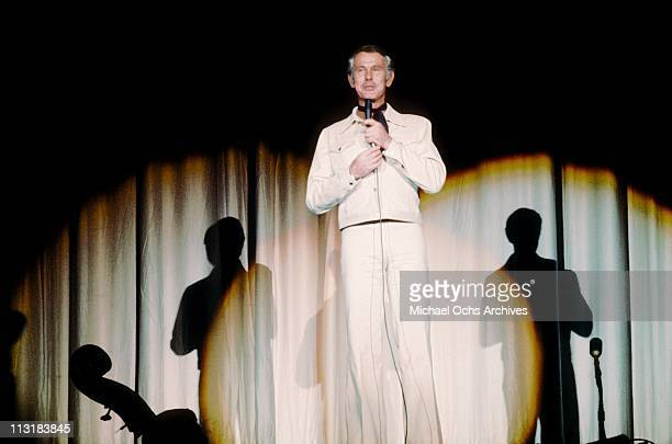 Johnny Carson host of the Tonight Show, performs at the Sahara Hotel circa 1973 in Las Vegas, Nevada.