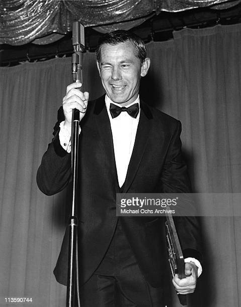 Johnny Carson host of the Tonight Show performs at the Sahara Hotel circa 1965 in Las Vegas Nevada