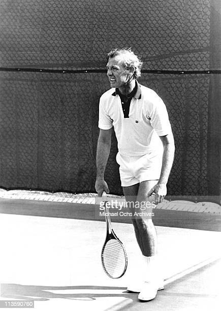 Johnny Carson host of the Tonight Show plays at a private Tennis club circa 1975 in Los Angeles California