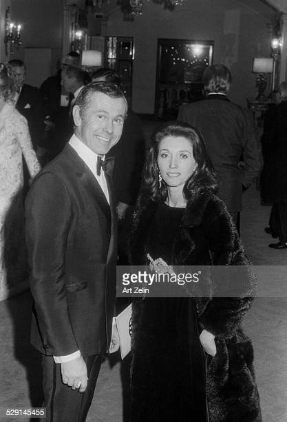 Johnny Carson with his wife Joanna Holland at a formal event circa 1970 New York