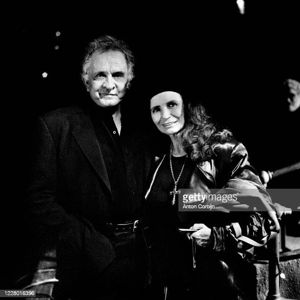 Johnny Cash and June Carter Cash are photographed during preparations for the first concert for the Rock and Roll Hall of Fame Museum on September 2...