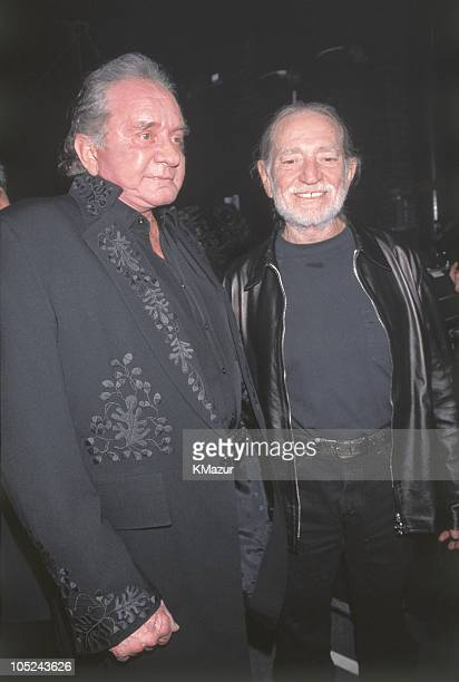Johnny Cash and Willie Nelson during An All-Star Tribute to Johnny Cash at Hammerstein Ballroom in New York City, New York, United States.