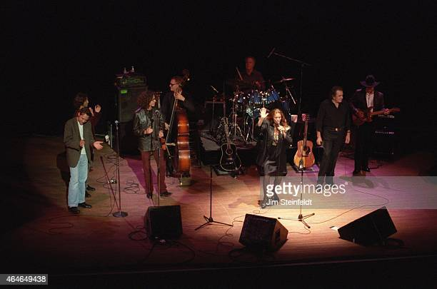Johnny Cash June Carter Cash and The Jayhawks perform with at the Orpheum Theatre in Minneapolis Minnesota on August 27 1994