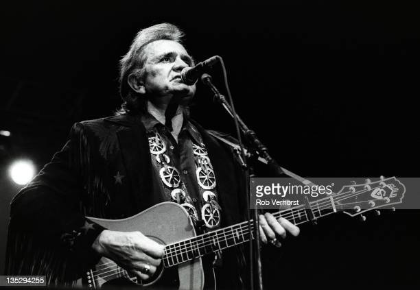 Johnny Cash of The Highwaymen performs on stage Ahoy Rotterdam 20th April 1992