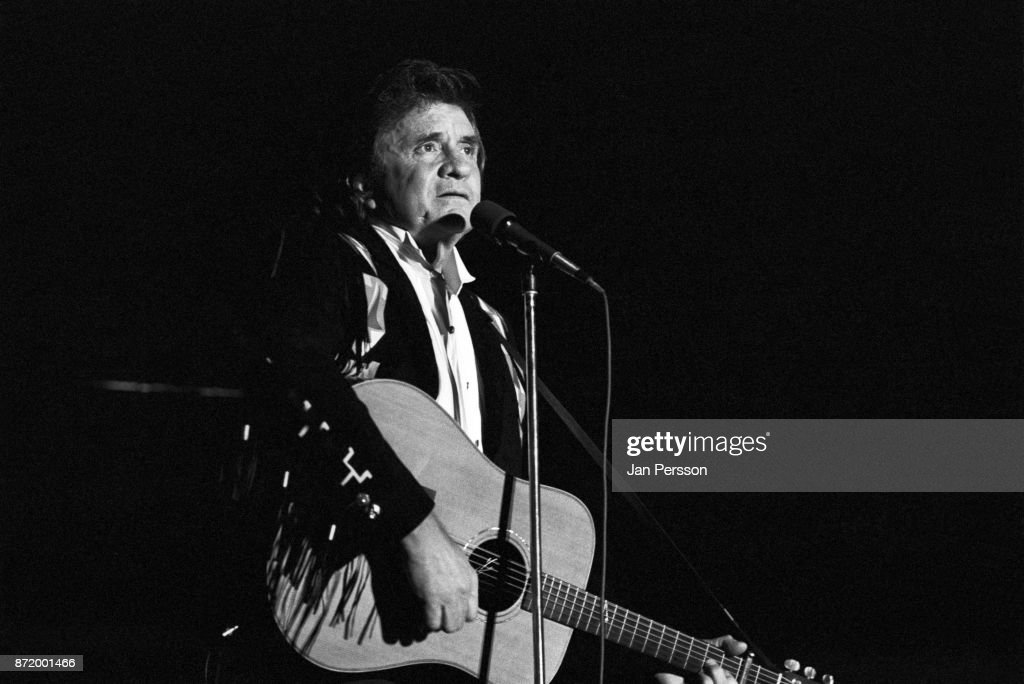 Johnny Cash performing at Tivoli Gardens Copenhagen, Denmark, July 1987.