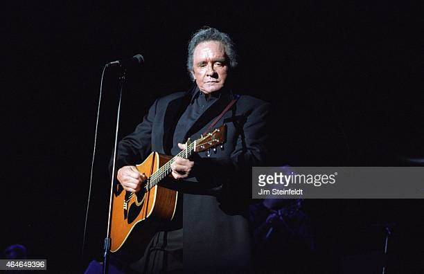 Johnny Cash performs at the Greek Theatre in Los Angeles, California on June 14, 1997.