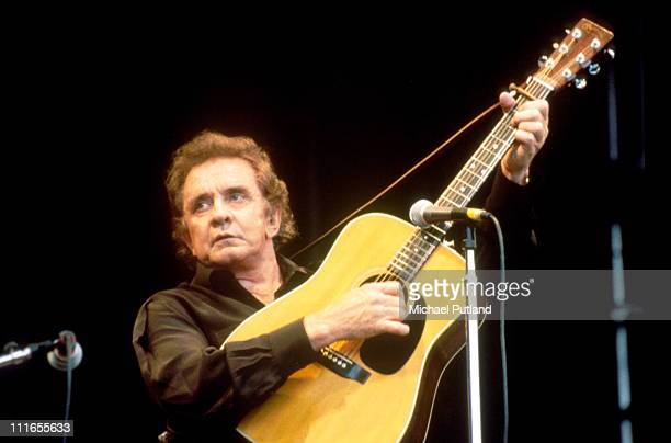 Johnny Cash performs on stage at Glastonbury Festival June 1994
