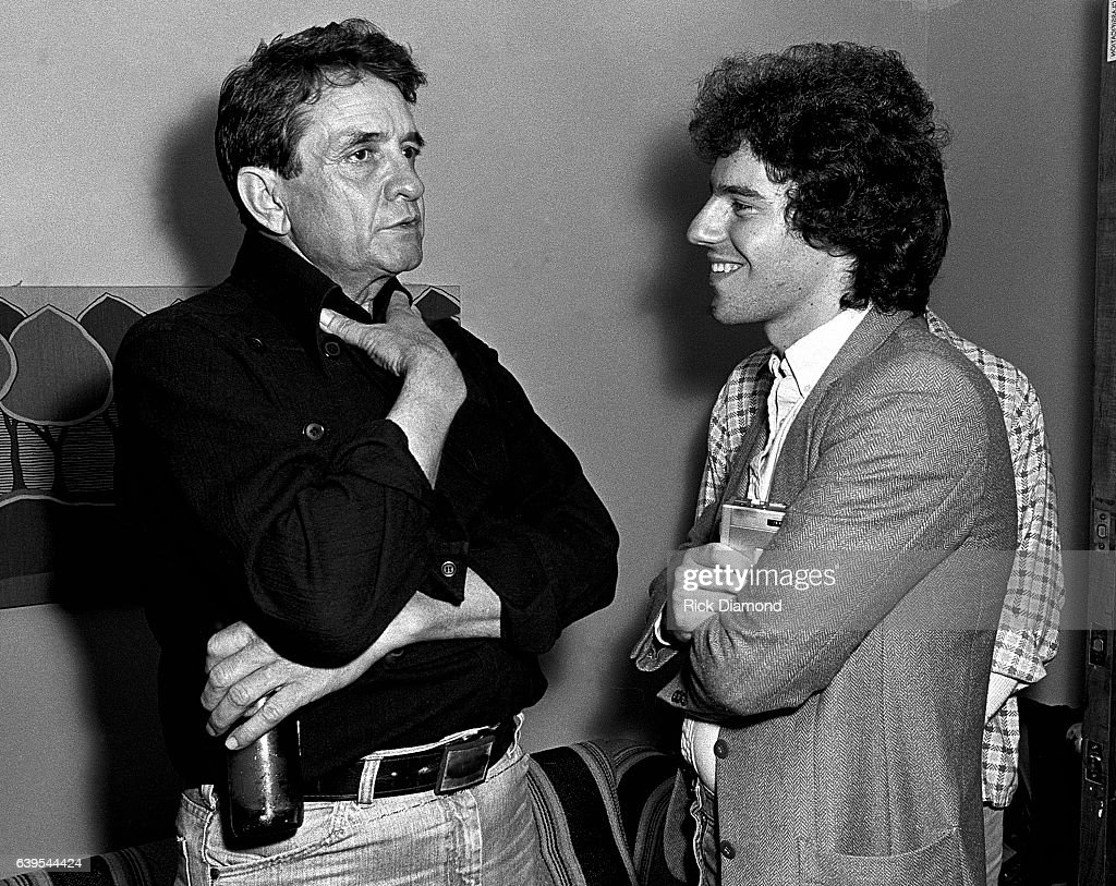 Johnny Cash talks with Journalist Andy Slater backstage after performing at The MoonShadow Saloon in Atlanta Georgia October 19, 1982