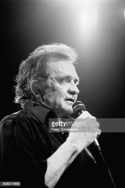 Johnny Cash, vocal-guitar, performs in Nighttown -Rotterdam, Netherlands on 30th June 1994.