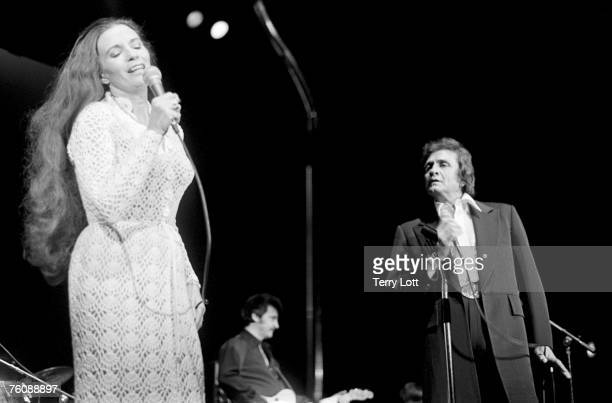 Johnny Cash with wife June Carter live at Wembley Conference Centre, London