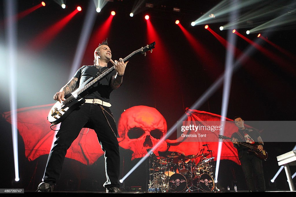 Johnny Christ of Avenged Sevenfold performs at the Ziggo Dome on November 19, 2013 in Amsterdam, Netherlands.